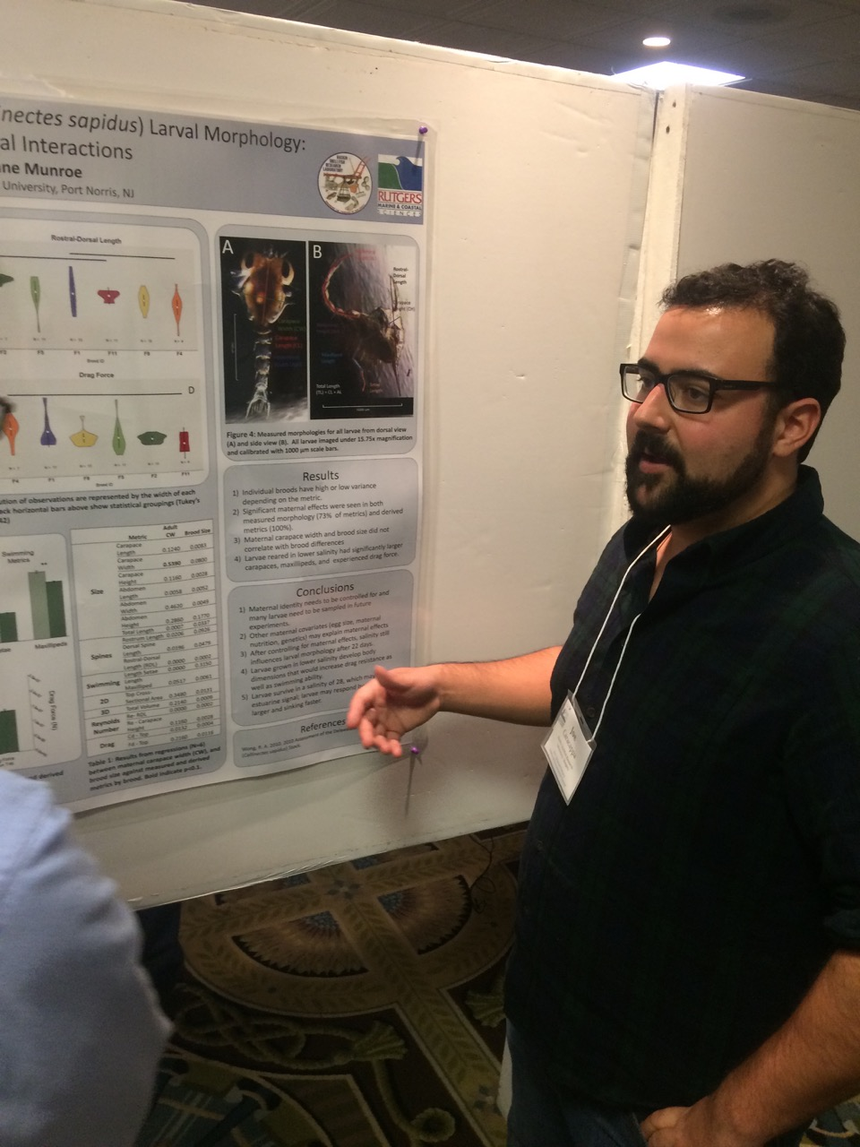 Joe Caracappa's winning poster on this research on blue crab larvae.