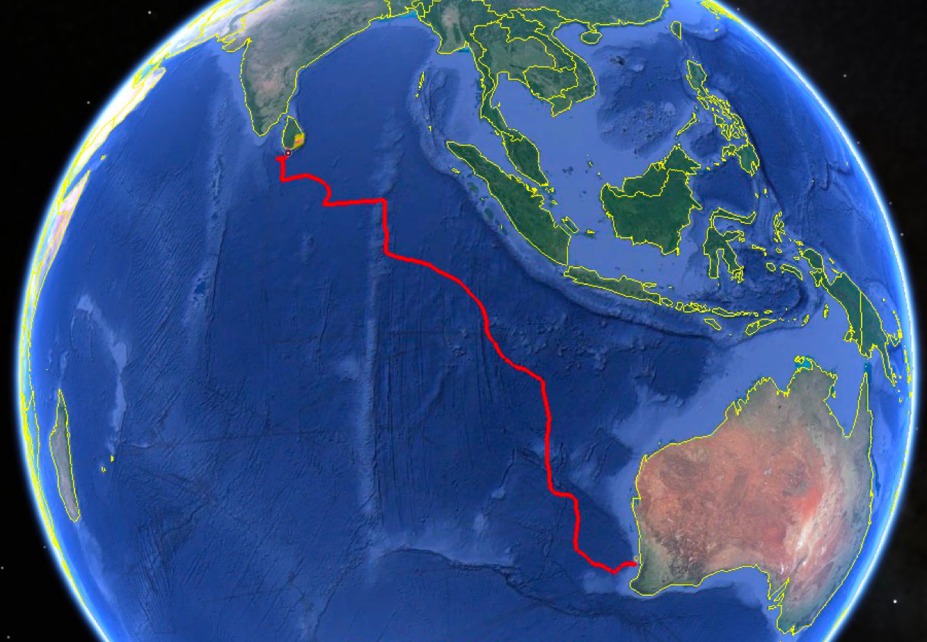 The track (red) of RU29 from Perth, Australia to Colombo, Sri Lanka.