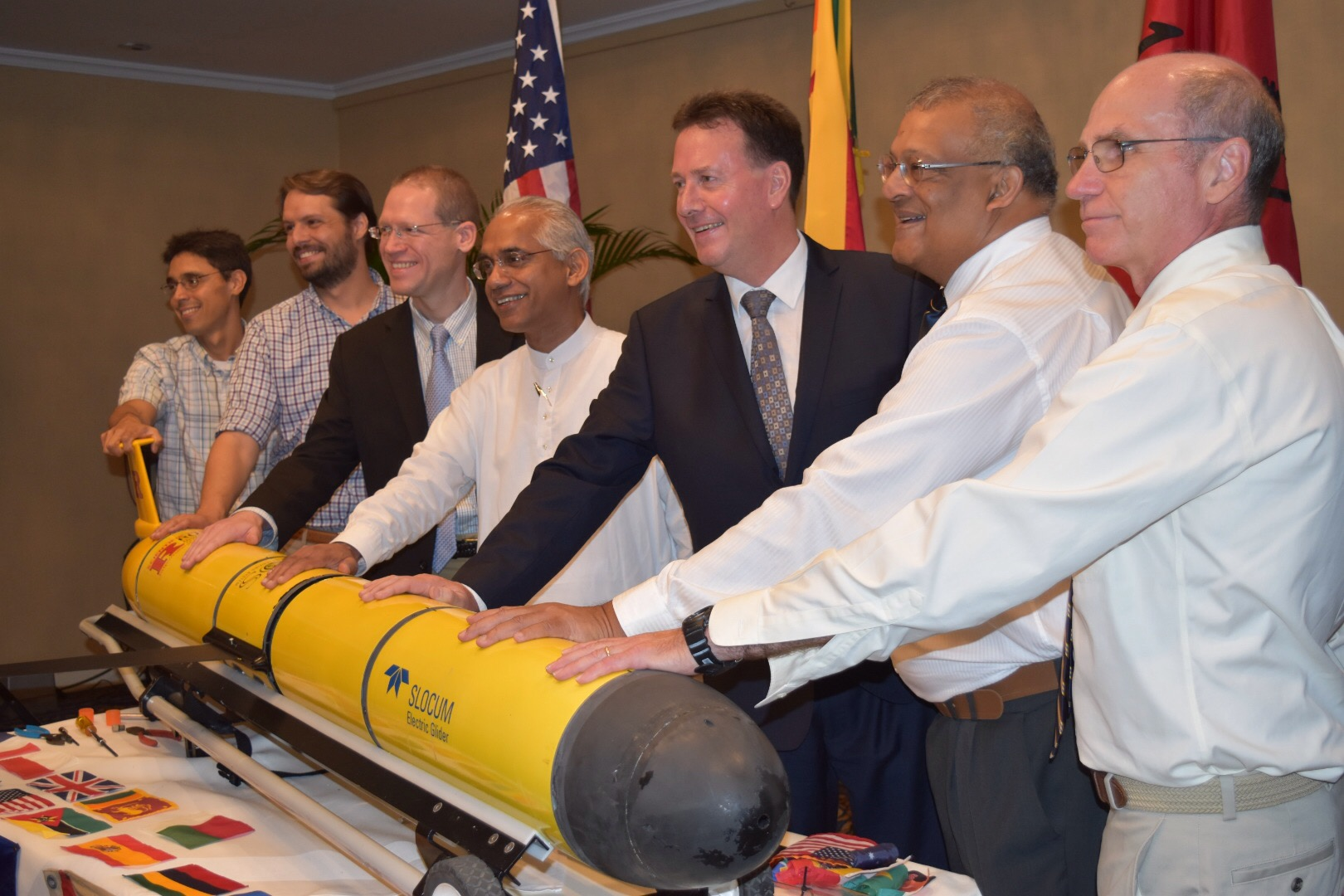 Challenger Ocean Glider Welcome Ceremony, Colombo, Sri Lanka.  October 2, 2017.  Left to Right: Dave Aragon, Rutgers University; Travis Miles, Rutgers University; Michael Cragun US Embassy Representative; Hon Eran Wickremaratne, Sri Lankan State Minister for Finance; Hon Bryce Hutcheson, Australian High Commissioner; Chari Pattiaratchi, University of Western Australia; and Scott Glenn, Rutgers University.