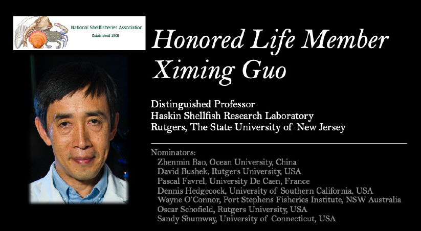 Ximing Guo, Distinguished Professor of Marine and Coastal Sciences, received the Honored Life Member Award